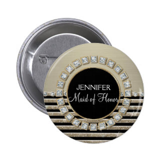 Art Deco Modern Horizontal Stripe Glitter Look 6 Cm Round Badge