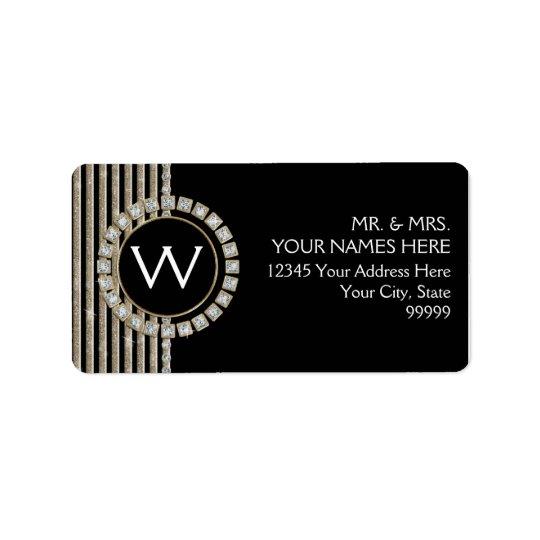Art Deco Modern Horizontal Stripe Glitter Look Address Label