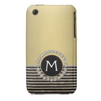 Art Deco Modern Horizontal Stripe Glitter Look Case-Mate iPhone 3 Cases