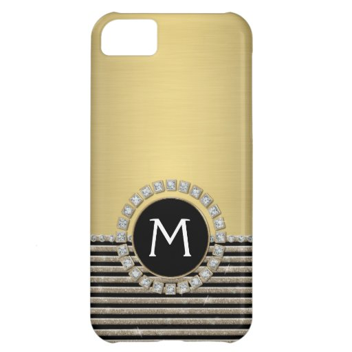 Art Deco Modern Horizontal Stripe Glitter Look iPhone 5C Case