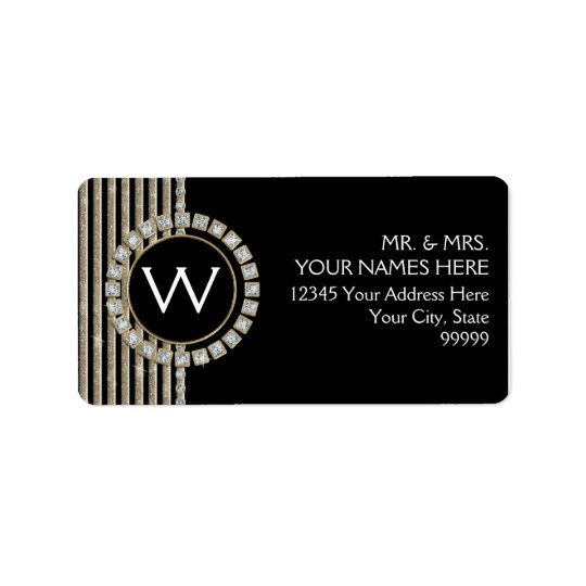 Art Deco Modern Horizontal Stripe Glitter Look Label