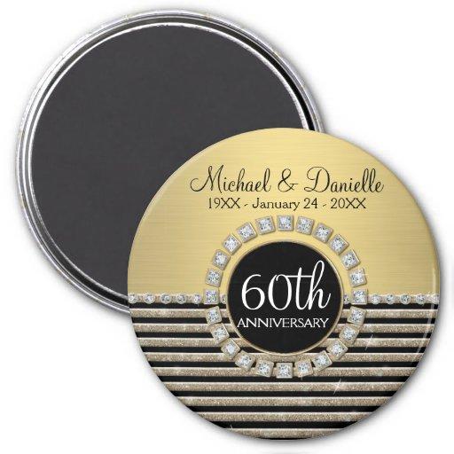 Art Deco Modern Horizontal Stripe Glitter Look Fridge Magnets