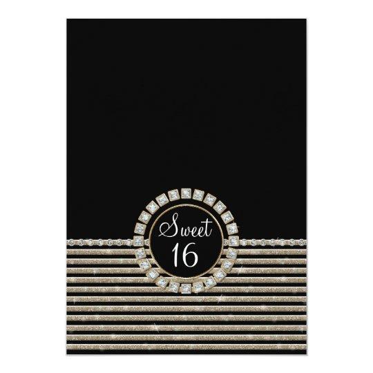 Art Deco Modern Horizontal Striped Birthday Party Card