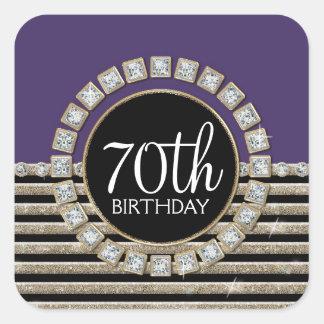 Art Deco Modern Horizontal Striped Birthday Party Square Sticker