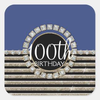 Art Deco Modern Horizontal Striped Birthday Party Sticker