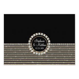 Art Deco Modern Horizontal Striped Wedding Set Card