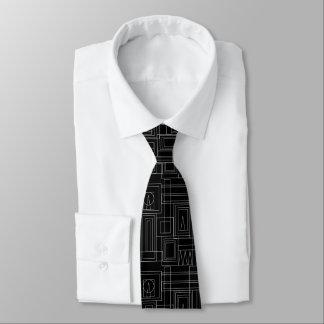 Art Deco Monochrome Print Gents Tie