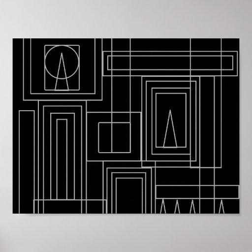 Art Deco Monochrome Print Poster