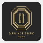 Art Deco Monogram Gold/Black Personalised Stickers