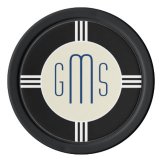 Art Deco Monogram Initials Personalized Poker Chip