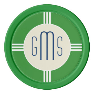 Art Deco Monogram Initials Personalized Poker Chip Poker Chips