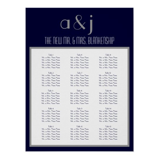 Art Deco Monogram Wedding 150 Guest Seating Chart