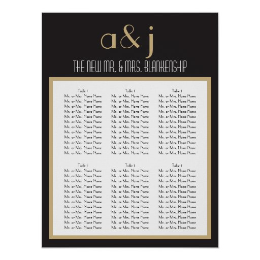 Art Deco Monogram Wedding Seating Chart 2 Posters