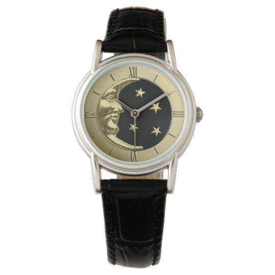 Art Deco Moon and Stars - Black and