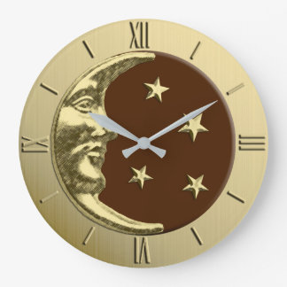 Art Deco Moon and Stars - Chocolate Brown & Gold Large Clock