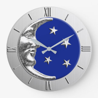 Art Deco Moon and Stars - Cobalt Blue and Silver Large Clock