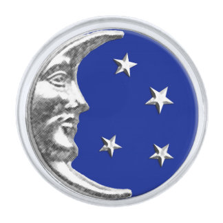Art Deco Moon and Stars - Cobalt Blue and Silver Pin