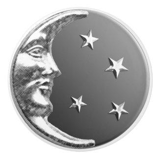 Art Deco Moon and stars - Grey / Gray and Silver Ceramic Knob