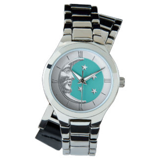 Art Deco Moon and Stars - Turquoise & Silver Watch