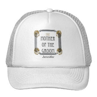 Art Deco Mother of the Groom in Black and Gold Trucker Hat