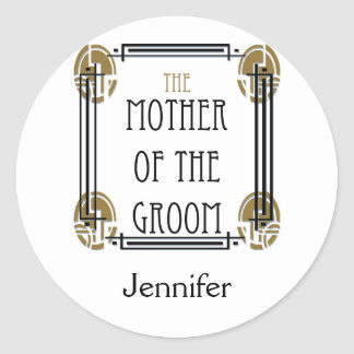Art Deco Mother of the Groom in Black and Gold Classic Round Sticker