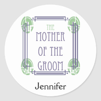 Art Deco Mother of the Groom in Purple and Green Round Sticker