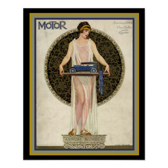 Art Deco Motor Magazine Cover 16 x 20