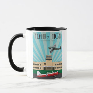 Art deco mug with Shoreham Airport and Chipmunk