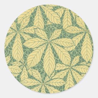 art deco nature leaves pattern art round sticker