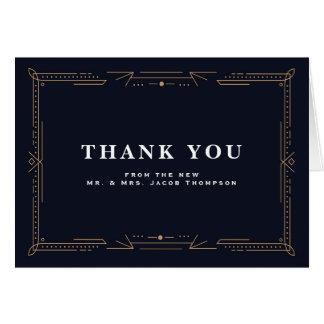 Art Deco Navy Wedding Thank You Card