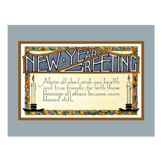 Art Deco New Year Greeting verse blue Postcard
