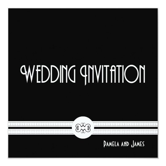 Art Deco Noir Chic Black and White Formal Wedding Card