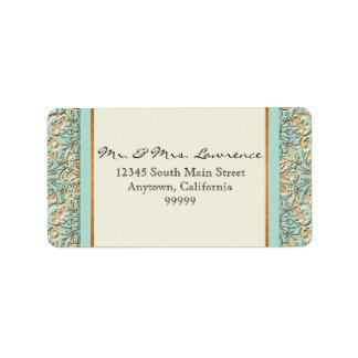 Art Deco Nouveau Faux Gold Floral Damask Lace Address Label