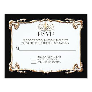 Art Deco Nouveau Gatsby Style Gold n Lace Look 11 Cm X 14 Cm Invitation Card