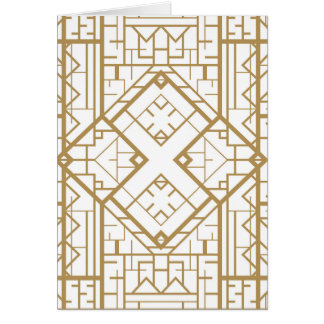 Art deco,nouveau,gold,white,elegant,chic,pattern greeting card