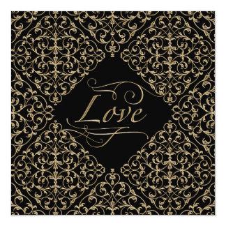 Art Deco Nouveau Lace Damask Golden Calligraphy Custom Invitations