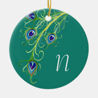 Art Deco Nouveau Style Peacock Feathers Swirl Christmas Ornament