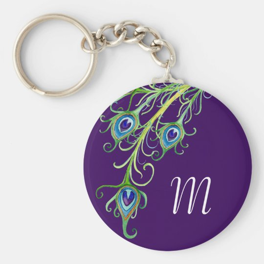 Art Deco Nouveau Style Peacock Feathers Swirl Key