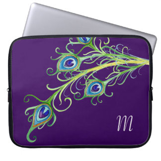 Art Deco Nouveau Style Peacock Feathers Swirl Laptop Sleeve