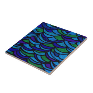 Art Deco Ocean Waves Small Square Tile