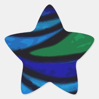 Art Deco Ocean Waves Star Sticker