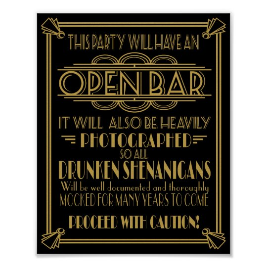 ART Deco Open bar sign for 1920's Gatsby