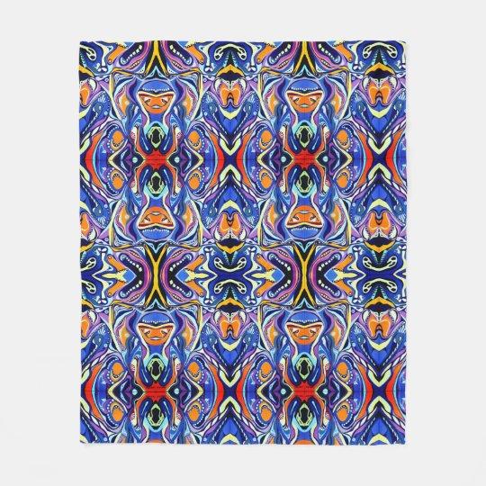 Art Deco - orange and blue Fleece Blanket