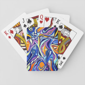 Art Deco - orange and blue Playing Cards