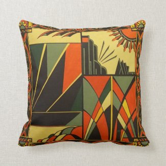 Art Deco Orange Cushion Pillow