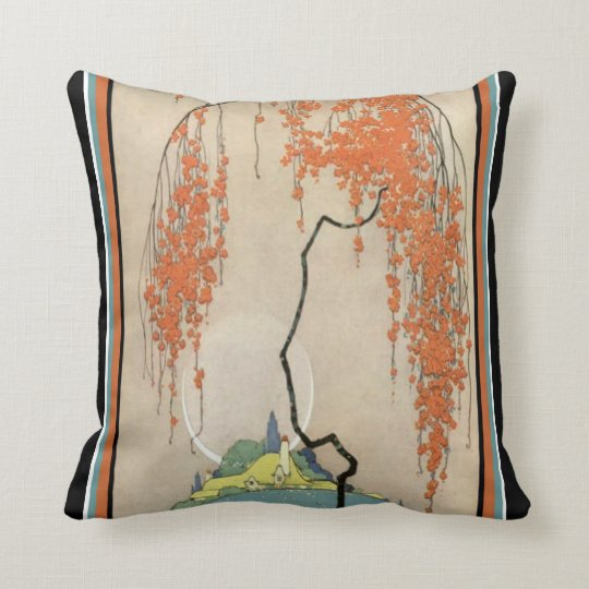 Art Deco Oriental Coral Blossoms Throw Pillow