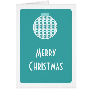 Art Deco Ornament Christmas Card, Turquoise Card