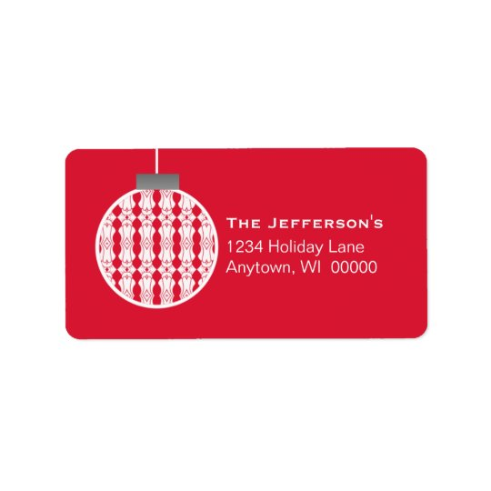 Art Deco Ornament Holiday Address Labels, Red Label