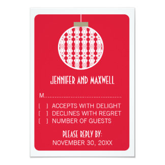 Art Deco Ornament Holiday Wedding RSVP Card, Red Card