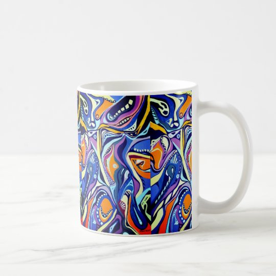 Art deco painting pattern, blue and orange coffee